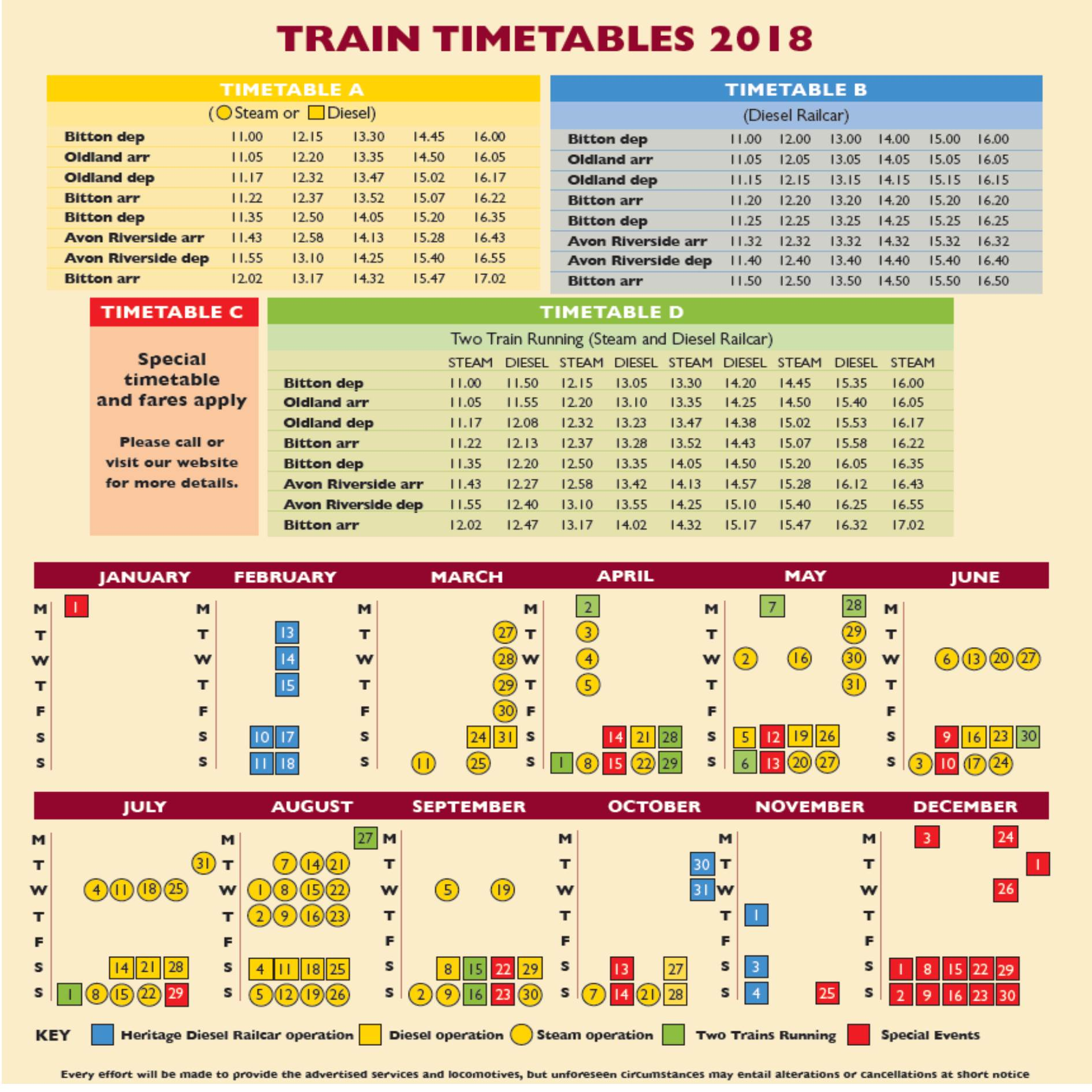 timetable avon valley railway